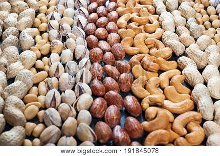 Nuts Background, Pistachio, Almond, Peanut And Cashew Nuts