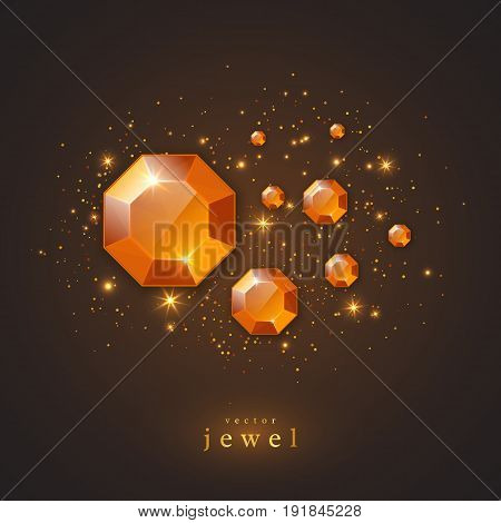 Festive holiday background with golden jewels diamonds and glowing lights. Concept for banner flyer brochures jewelry gift shop. Vector illustration.