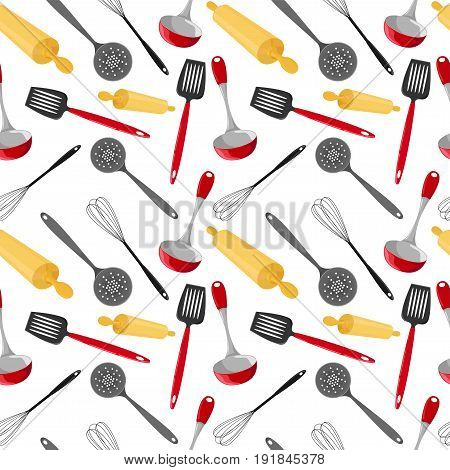 Seamless pattern with utensils in a cartoon style. Bright kitchen cookware.