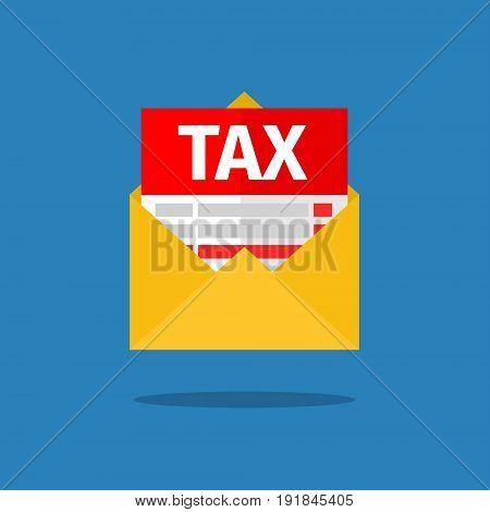 Tax, debt form icon. Flat design vector illustration