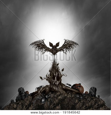 Scary tree monster concept as a creepy dark night horror scene with a living mutant plant shaped as an evil skull and haunted ghost bat as a surreal halloween background with 3D illustration elements. poster