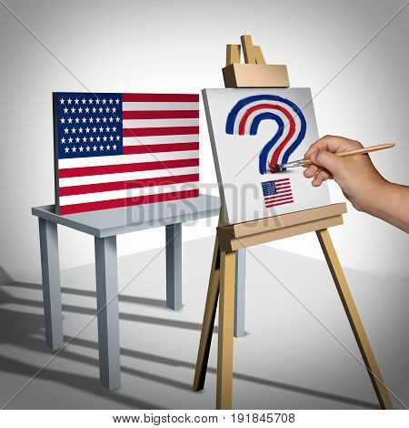 United States questions or national arts funding and white house political issues or Washington legislation uncertainty as an artist looking at a national flag painting a question mark with 3D illustration elements.
