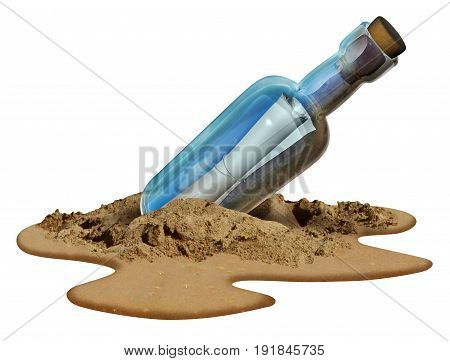 Message in a bottle isolated on a white background concept as a note on a sealed glass container as a communication metaphor for sending a letter of help from a castaway on an island beach with 3D illustration elements.