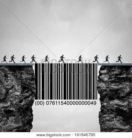 Consumer solution and client or customer service concept as people crossing two cliff with the help of a bridge shaped as a commercial bar code helping clientele and sales as a business marketing metaphor with 3D illustration elements.