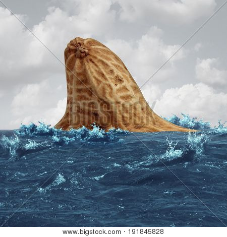 Peanut allergy danger and food allergies risk and avoiding nuts and other allergic risky ingredients caution as a symbol for nuts and peanuts shaped as a shark fin in the ocean as a symbol of health security in a 3D illustration style on white.