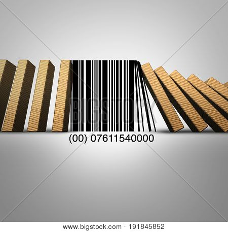 Retail industry and sale of goods challenges and the decline of traditional sale of products caused by online internet shopping as a 3D illustration.
