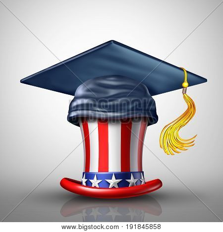 Education in the United States for private and public schools as a mortar board or graduation cap on an American star and stripes top hat as a learning and USA university or college metaphor as a 3D illustration.