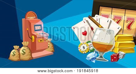 Casino winner horizontal banner concept. Cartoon illustration of casino winner vector horizontal banner for web