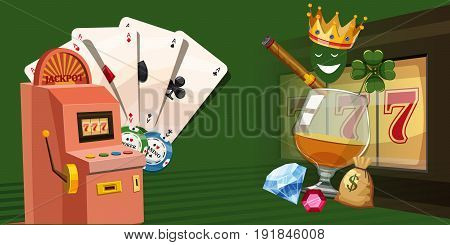 Casino gambling horizontal banner concept. Cartoon illustration of casino gambling vector horizontal banner for web