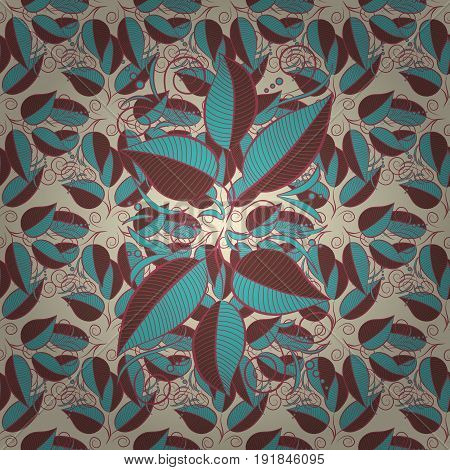 Spring floral background with leaves. The elegant the template for fashion prints. Vector cute pattern in small leaf. Small colorful leaves. Motley illustration.