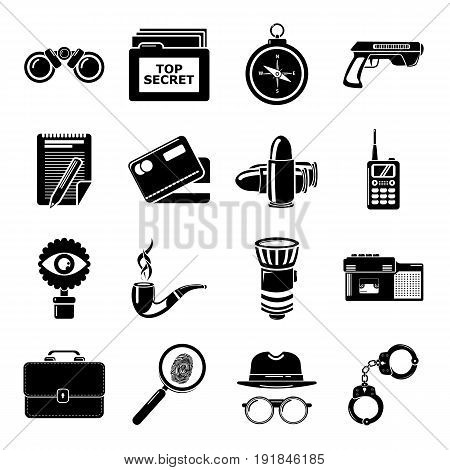 Spy icons set secret investigation. Simple illustration of 16 spy vector icons for web