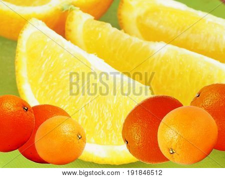 Kollage. Background of citrus fruits. Green background.