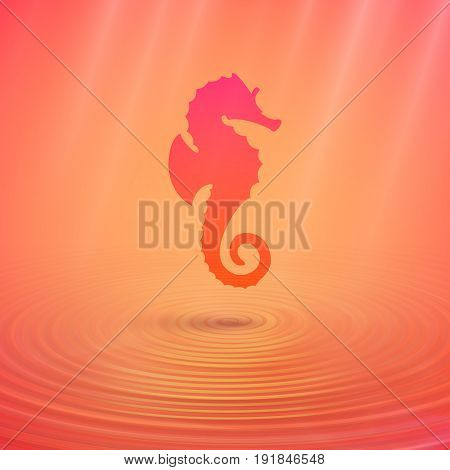 Seahorse on the ocean floor an unusual color vector illustration