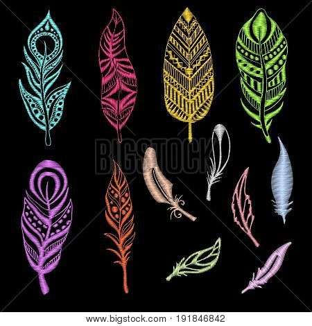 Set of embroidered feathers on a black background. Vector illustration of a sketch style.