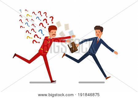 Concept of business relations. The person with too many questions runs for the businessman. Flat design, vector illustration.