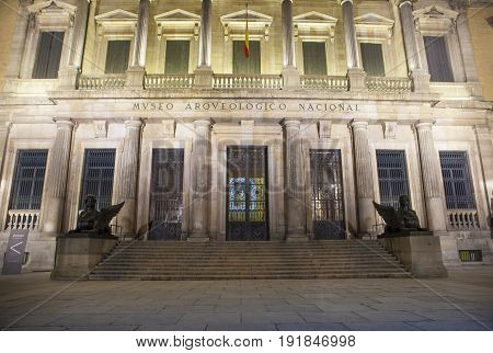 Facade building at night of National Archaeological Museum of Spain Madrid