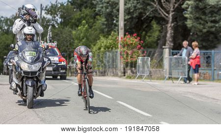 Bourgoin-Jallieu France - 07 June 2017: The Australian cyclist Richie Porte of BMC Team riding during the time trial stage 4 of Criterium du Dauphine 2017. Porte won this stage.