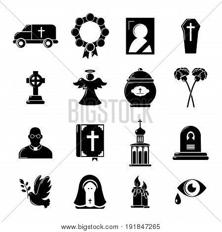 Funeral ritual service icons set. Simple illustration of 16 funeral ritual service vector icons for web