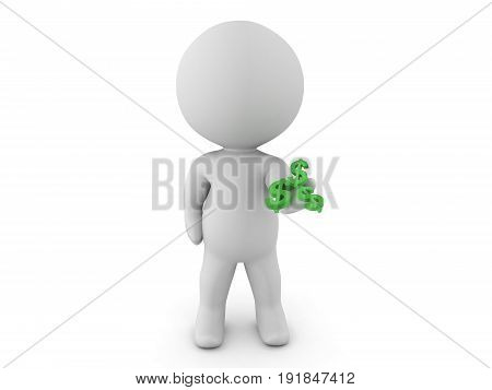 3D Character Extending His Hand Out With Dollar Symbols In His Palm
