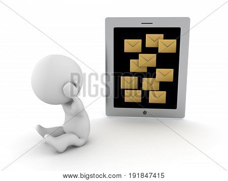 3D Character Stressed Out Because Of Too Many Message Notifications Different Arrangement
