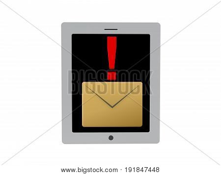 3D illustration of mail notification icon on tablet screen or phone. Isolated on white.