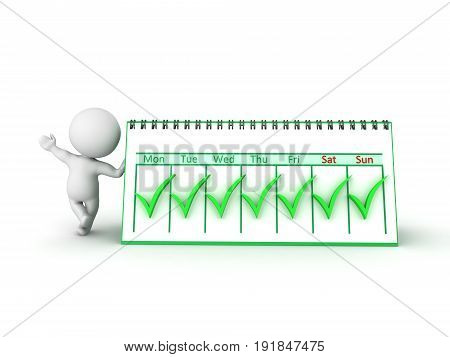 3D Character Leaning On Weekly Calendar With Many Green Check Marks