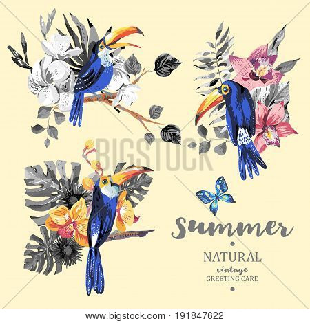 Set of vintage summer vector toucan, butterflies, exotic flowers and leaves. Natural floral illustration.