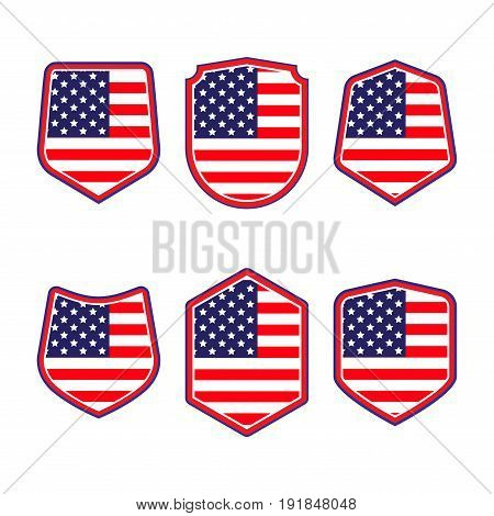 United States Of America Shield. Set Of Patriotic Symbols. Red White And Blue Shields In American Fl