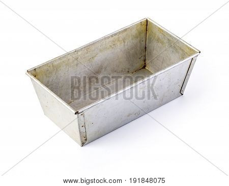 Old baking pan isolated on white with clipping path