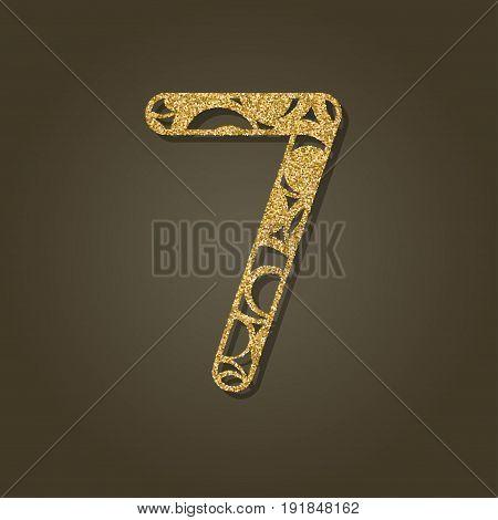 Number seven laser cut.Round gold pattern. Vector illustration.