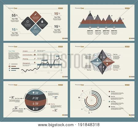 Infographic design set can be used for workflow layout, diagram, annual report, presentation, web design. Business and analytics concept with process, line, timing, doughnut and percentage charts.
