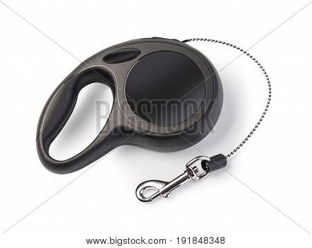 black expendable pet leash for dog or cat on a white background with clipping path