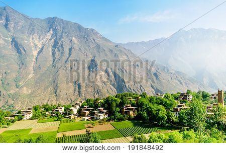 View on traditional buildings of tibetan Danba village Zhonglu