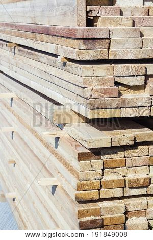 wooden planks on a construction site. Neatly folded