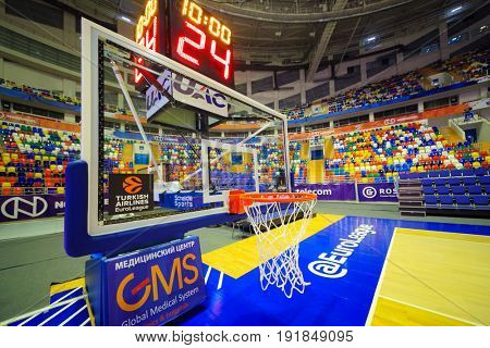 MOSCOW - APR 7, 2017: Basketball ring in Megasport stadium, construction of the stadium was completed in 2006, number of seats is 14 thousand