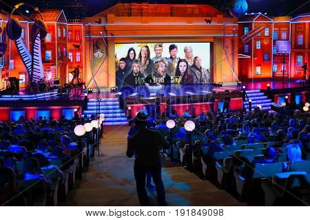 MOSCOW - NOV 11, 2016: Show Game of jokes of Ural dumplings in Concert hall Cosmos