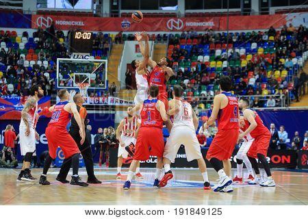 MOSCOW - APR 7, 2017: Basketball game Euroleague CSKA Moscow (Russia) - Olympiakos (Greece) in Megasport stadium