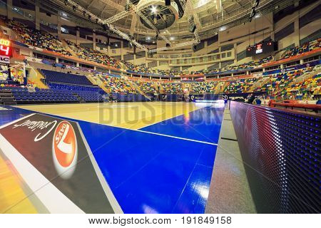 MOSCOW - APR 7, 2017: Basketball court in Megasport stadium, construction of the stadium was completed in 2006, number of seats is 14 thousand
