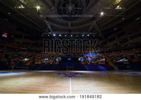 MOSCOW - APR 7, 2017: Empty basketball court in Megasport stadium, construction of the stadium was completed in 2006, number of seats is 14 thousand