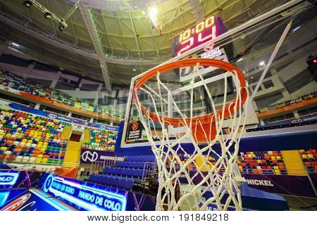 MOSCOW - APR 7, 2017: Basketball ring and scoreboard in Megasport stadium, construction of the stadium was completed in 2006, number of seats is 14 thousand