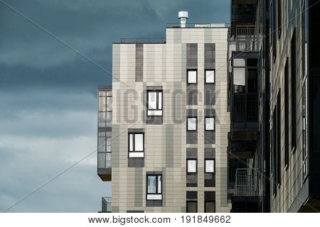 Modern design city apartment building in the city