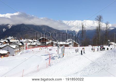KRASNAYA POLYANA, SOCHI, RUSSIA - MAR 5, 2017: Rosa Khutor ski resort, In February 2014 the resort became the venue for the XXII Winter Olympic Games