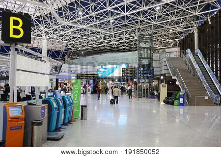 SOCHI, RUSSIA - MAR 4, 2017: Sochi Airport, airport ranks 5th in Russia in passenger turnover (5,263 million passengers)