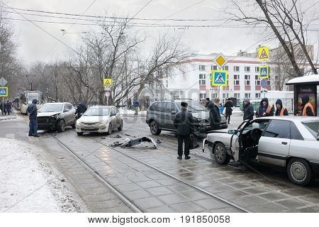 MOSCOW, RUSSIA - DEC 30, 2016: Group car accident, in 2016 in Russia there were 184 thousand accidents with victims, they killed 23 thousand people
