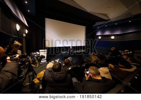 MOSCOW - DEC 9, 2016: Director of Mosfilm concern Karen Shakhnazarov and journalists at press conference