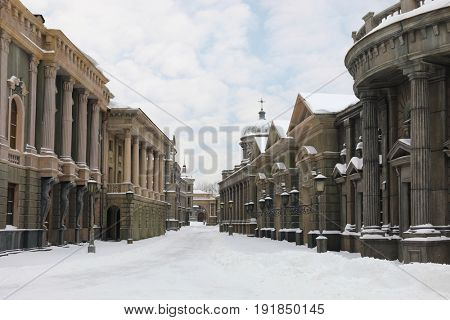 MOSCOW - DEC 9, 2016: Street at winter, Decoration Old Moscow was built in 2003 for filming of Mosfilm Studio
