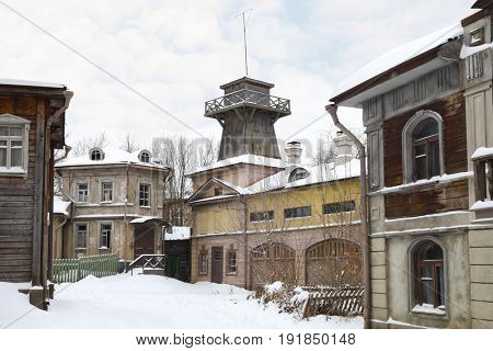 MOSCOW - DEC 9, 2016: Empty russian street, Decoration Old Moscow was built in 2003 for filming of Mosfilm Studio