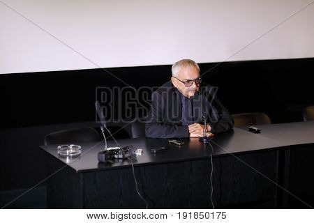 MOSCOW - DEC 9, 2016: Director of Mosfilm cinema concern Karen Shakhnazarov at press conference