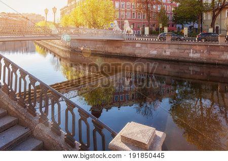 Lion Bridge crosses the Griboedov Canal in St. Petersburg solar backlight