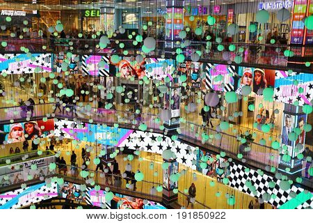 MOSCOW - MAR 19, 2017: Shopping center European with decorations, 5905049 people visited Shopping Center in March 2017